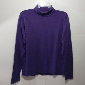 LL Bean wool turtleneck Sweater M purple LS
